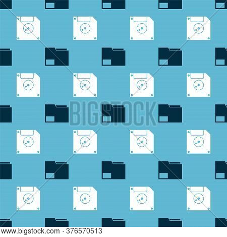 Set Document Folder And Floppy Disk For Computer Data Storage On Seamless Pattern. Vector