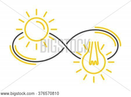 Renewable Energy Concept - Symbols Of Sun And Lamp Placed In Eternity Sign - Ecology And Environment