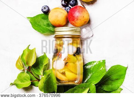 Ice Fruit Cold Tea With Apricot, Blueberry And Ice, Top View