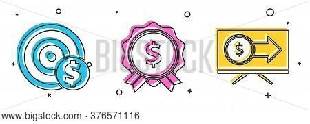 Set Target With Dollar Symbol, Price Tag With Dollar And Monitor With Dollar Icon. Vector