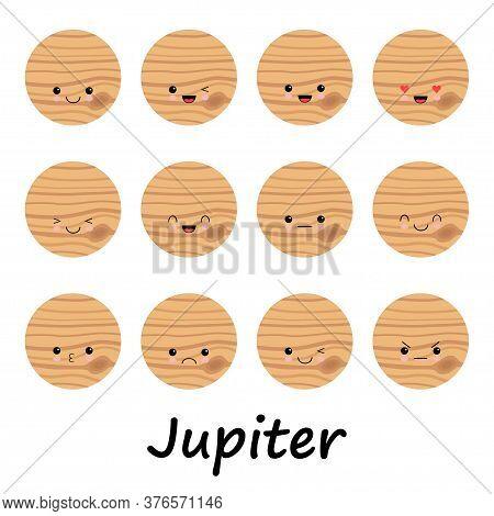 Set Of Cute Jupiter Emoticons, Flat Emoji, Kawaii Style Emotion. Jupiter Vector For Education About