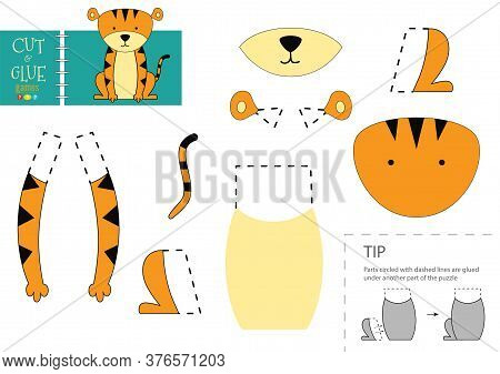 Cut And Glue Paper Vector Toy. Funny Tiger Character As A Cardboard Cutout Model
