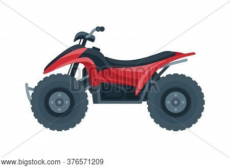 Quad Bike Vector - Side View Of Four-wheeled Motorcycle In Flat Style - Isolated Icon Transportation