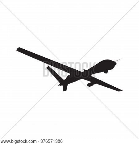 Silhouette Of Unmanned Military Drone With Missiles