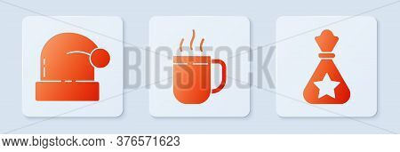 Set Coffee Cup, Christmas Santa Claus Hat And Santa Claus Bag Gift. White Square Button. Vector