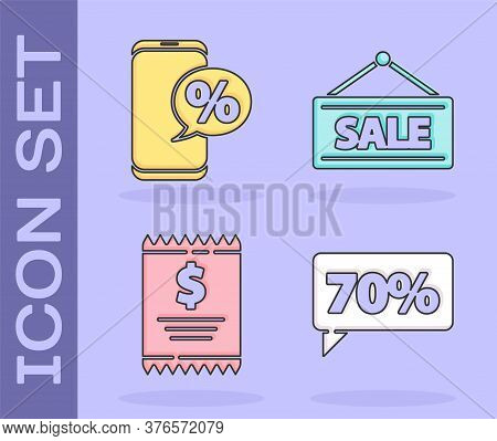 Set Seventy Discount Percent Tag, Percent Discount And Phone, Paper Check And Financial Check And Ha