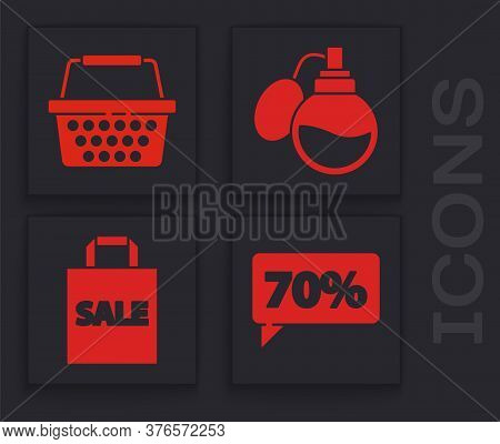 Set Seventy Discount Percent Tag, Shopping Basket, Perfume And Shoping Bag With Sale Icon. Vector