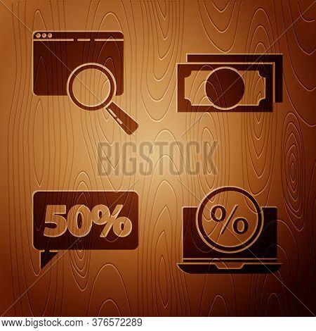 Set Percent Discount And Laptop, Search In A Browser Window, Fifty Discount Percent Tag And Stacks P
