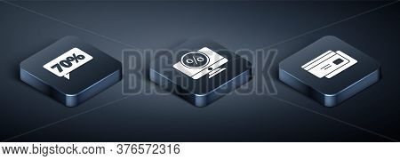 Set Isometric Seventy Discount Percent Tag, Credit Card And Percent Discount And Monitor Icon. Vecto