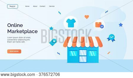 Online Marketplace Exterior Facade Store Icon Campaign For Web Website Home Homepage Landing Templat