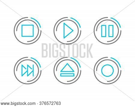 Media Player Transport Buttons Design - Set Of Icons With Navigation Interface Elements - Stop, Play