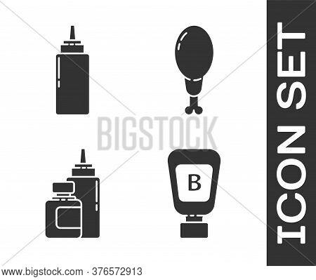 Set Sauce Bottle, Sauce Bottle, Sauce Bottle And Chicken Leg Icon. Vector