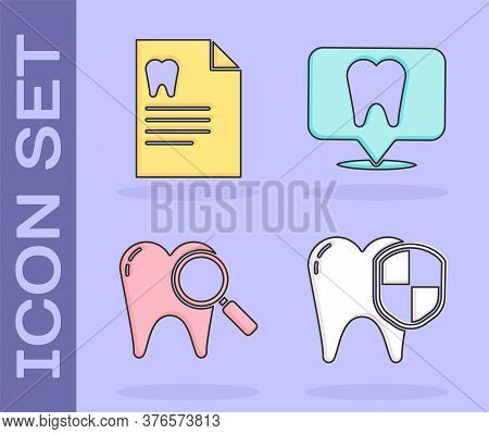 Set Dental Protection, Clipboard With Dental Card, Dental Search And Dental Clinic Location Icon. Ve