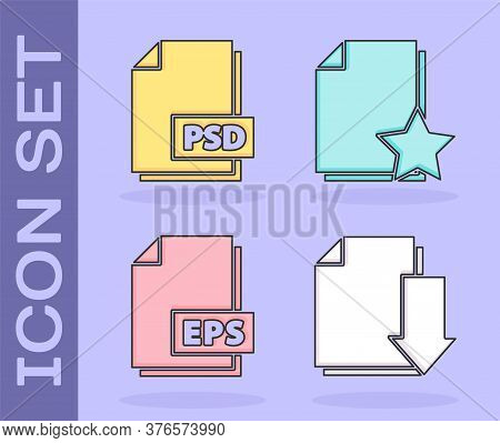 Set Document With Download, Psd File Document, Eps File Document And Document With Star Icon. Vector