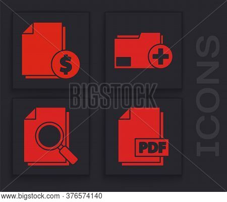 Set Pdf File Document, Finance Document, Add New Folder And Document With Search Icon. Vector