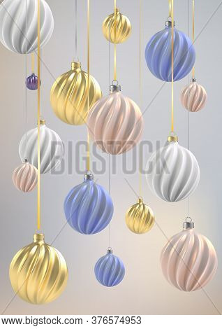 Christmas Background With Christmas Balls Of Nacre Pink, Gold And Blue, A Spiral Balls On A Color Ve