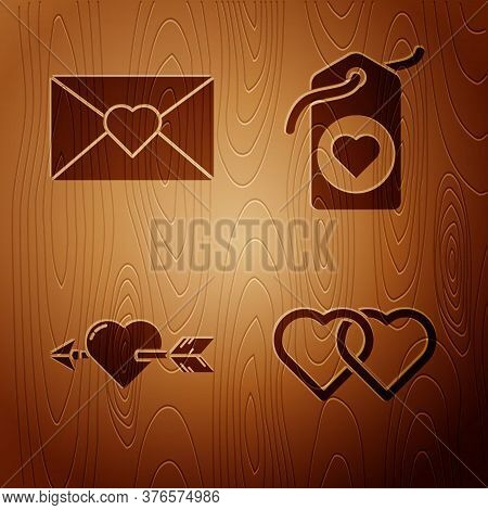 Set Two Linked Hearts, Envelope With Valentine Heart, Amour With Heart And Arrow And Heart Tag On Wo