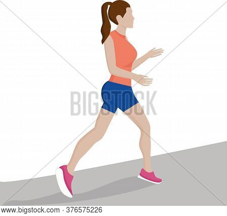 A Beautiful Sports Girl Runs Along The Road. Jogging. Silhouette Of A Running Girl. The Girl Is Runn