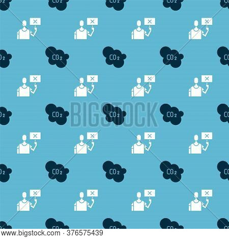Set Co2 Emissions In Cloud And Nature Saving Protest On Seamless Pattern. Vector