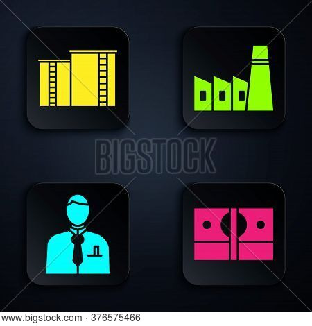 Set Stacks Paper Money Cash, Oil Industrial Factory Building, Businessman Or Stock Market Trader And