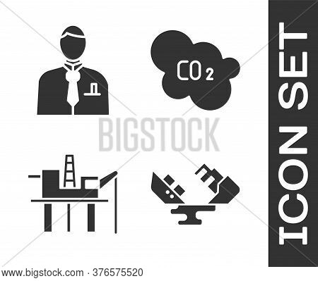 Set Wrecked Oil Tanker Ship, Businessman Or Stock Market Trader, Oil Platform In The Sea And Co2 Emi