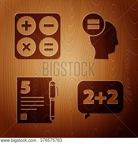 Set Equation Solution, Calculator, Test Or Exam Sheet And Pen And Calculation On Wooden Background.