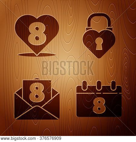 Set Calendar With 8 March, Heart With 8 March, Envelope With 8 March And Castle In The Shape Of A He