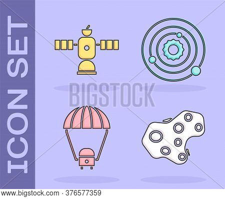 Set Asteroid, Satellite, Space Capsule And Parachute And Solar System Icon. Vector