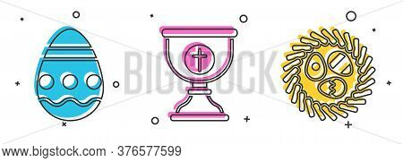 Set Easter Egg, Christian Chalice And Easter Egg In A Wicker Nest Icon. Vector
