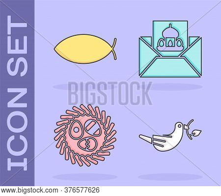 Set Peace Dove With Olive Branch, Christian Fish, Easter Egg In A Wicker Nest And Greeting Card With
