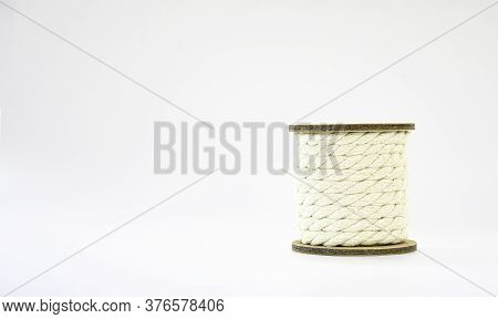 Cotton Roll Yellow White String Object On White Background, Natural White Shabby Style Rustic String