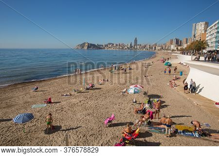 Benidorm, Spain-february 4th 2020: The Beach In The Month Before The Covid Virus Lockdown At Benidor