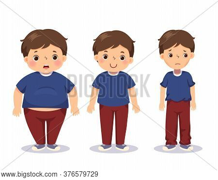 Vector Illustration Cute Cartoon Fat Boy, Average Boy, And Skinny Boy. Boy With Different Weight.