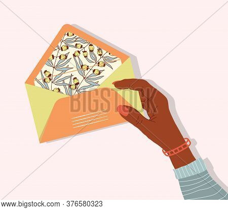 Vector Postal Envelope With A Flower Print In A Girls Hand. Greeting Card And Invitation For Valenti