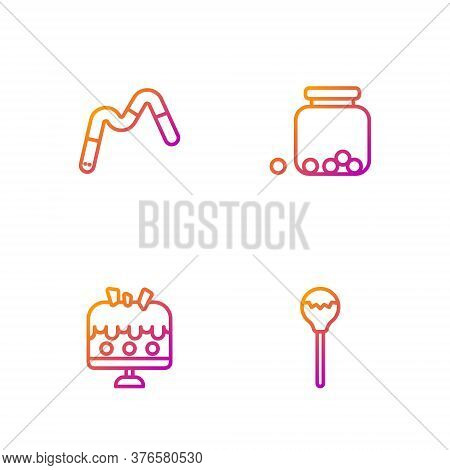 Set Line Lollipop, Cake On Plate, Jelly Worms Candy And Glass Jar With Candies Inside. Gradient Colo
