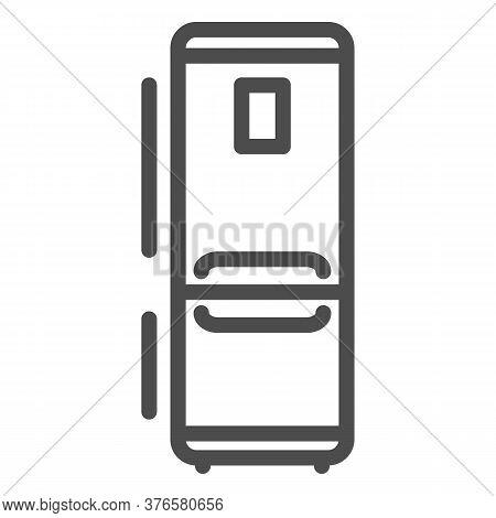 Fridge Line Icon, Kitchen Appliances Concept, Refrigerator Sign On White Background, Kitchen Fridge