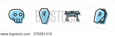 Set Line Dead Body In The Morgue, Skull, Coffin With Cross And Icon. Vector
