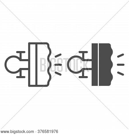 Bike Brake Line And Solid Icon, Bicycle Concept, Bike Detail Sign On White Background, Bicycle Brake