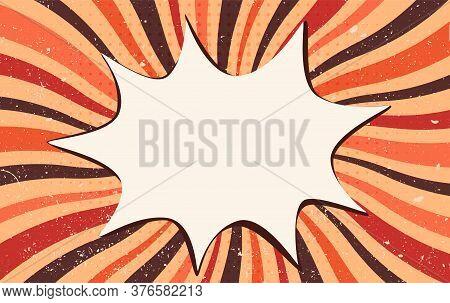 Splash Or Speech Bubble Pop Art. Vintage Retro Starburst. Wallpaper Backdrop For Advertising Or Part