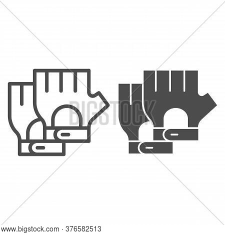 Cyclist Gloves Line And Solid Icon, Bicycle Accessories Concept, Fitness Gloves Sign On White Backgr