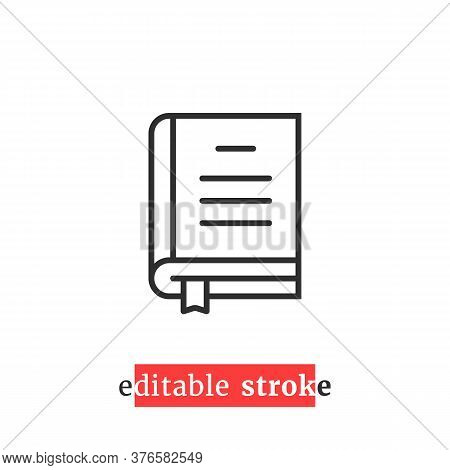 Minimal Editable Stroke Book Icon. Flat Linear Modern Change Line Thickness Ereader Logotype Graphic