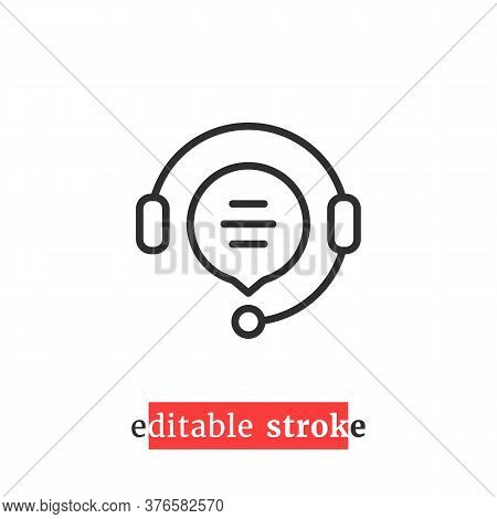 Minimal Editable Stroke Hotline Icon. Flat Linear Change Line Thickness Simple Operator Logotype Gra