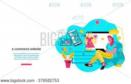 E-shop And E-commerce Web Site Banner, Vector.