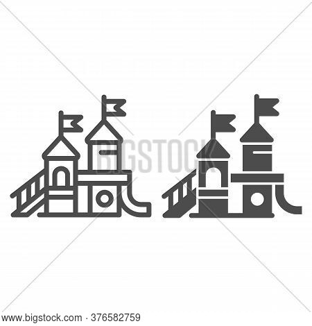 Playground Line And Solid Icon, Amusement Park Concept, Kid Castle Sign On White Background, Playgro