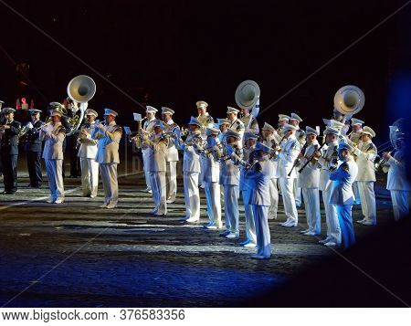 Moscow, Russia - Aug 25, 2017: Night Performance Of The Presidential Orchestra Of The Russian Federa