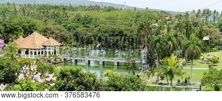 Taman Ujung Water Palace Is A Popular Landscaped Garden With A Pond And Water Pavilions, Ornate With