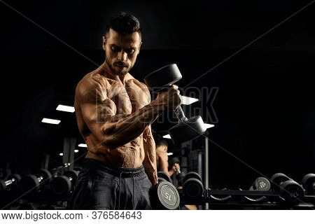 Side View Of Shirtless Bodybuilder Training Biceps With Dumbbell. Close Up Of Muscular Sportsman Wit