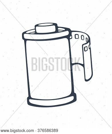 Outline Of Photo Film In Cartridge. Vector Illustration. Photographic Roll Film. Hand Drawn Black In