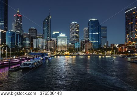 Perth, Western Australia - January 12, 2020: Elizabeth Quay with Spanda Sculpture, Perth at night.