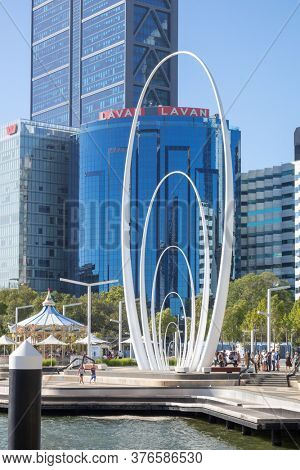 Perth, Western Australia - January 12, 2020: Spanda Sculpture at Elizabeth Quay Perth on a sunny summer day.